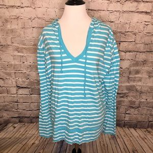 Fresh Produce Striped V-Neck Hoodie Pullover XL